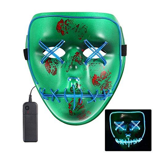 Teepao LED Rave Maske, Licht LED Gesichtsmaske, bis Maske Frightening Halloween Cosplay LED Light up Maske für Festival Party Halloween Kostüme 9