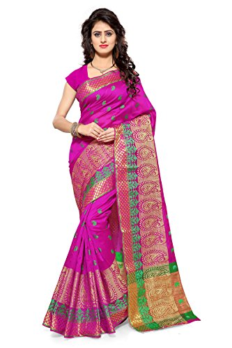 INDIAN BEAUTIFUL WOMEN'S ETHNIC WEAR POLYCOTTON PINK COLOUR SAREE WITH BLOUSE PIECE