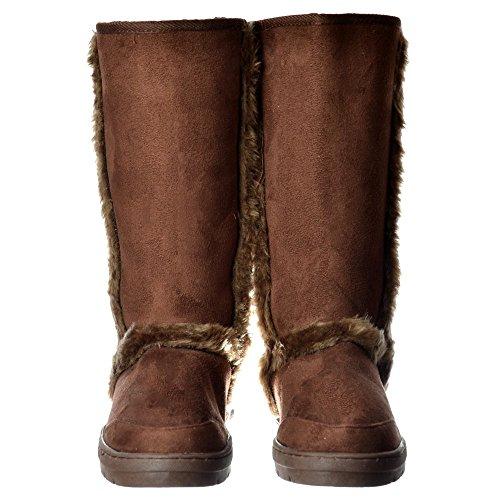 Ella Women's Ladies Synthetic Fur Trimmed Fur Lined Flat Winter Snug Boot - Chestnut Brown, Black, Dark Brown Braun
