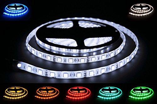 ProGoods 5m RGB SMD LED-Streifen / LED-Strip mit 300 LED's (60Stk/m) bestückt inklusive 44 Tasten IR-Fernbedienung für Farb-/ Moduswechsel und 12V/5A (60W) Netzteil | optimal für Innenraumbelechtung | selbstklebend | wasserdicht | energieeffizient