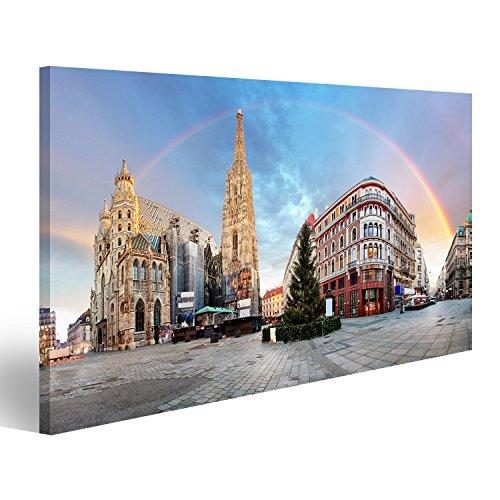 islandburner Bild auf Leinwand Panorama Od Wien Quadrat mit Regenbogen - Stephens Kathedrale, niemand Wandbild, Poster, Leinwandbild IHW-1K
