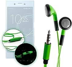 DURAGADGET Auriculares In-Ear Con Luz LED Verde Para Smartphone Sony Xperia XZs , XZ