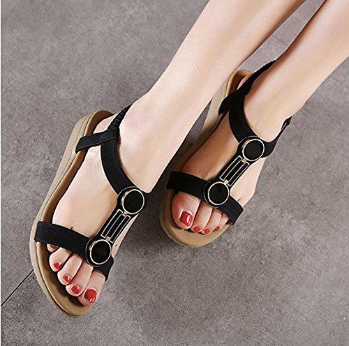 Minetom Damen Mädchen Sommer Sandalen Strandschuhe Böhmische Stil Freizeit Strappy Peep Toe Flache Schuhe Schwarz