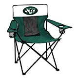 Logo Brands NFL New York Jets Folding Elite Chair with Mesh Back and Carry Bag, Hunter, One Size