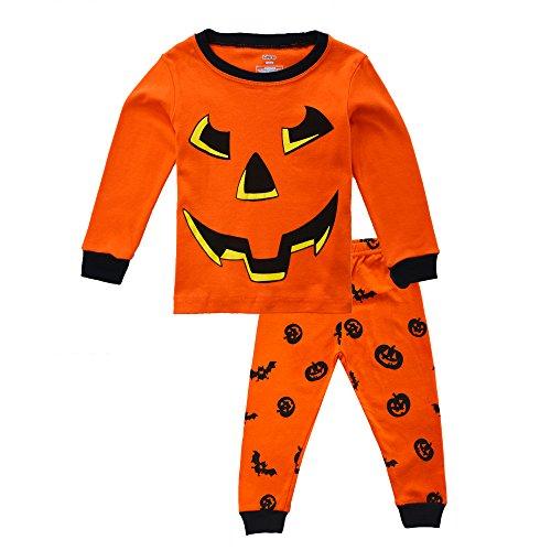 BINIDUCKLING Jungen Pyjamas Halloween Schlafanzüge Kürbis Baumwolle PJS (Halloween Pjs)