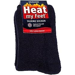 BRUBAKER Chaussettes thermiques 'Heat my Feet' - Lot de 2 Paires - Unisexe - 47-50 - Bleu marine