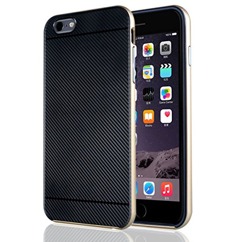 "iphone 6s Coque , ivencase Prime Hybride Anti-scratch Carcasse Bumper Housse Double Couche Etui en fibre de carbone pour iphone 6/6s/iphone Air 4.7"" Noir+Or gold"