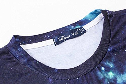 Pizoff Unisex Digital Print Schmale Passform T Shirts mit Bunt 3D Druck Muster Y1793-03