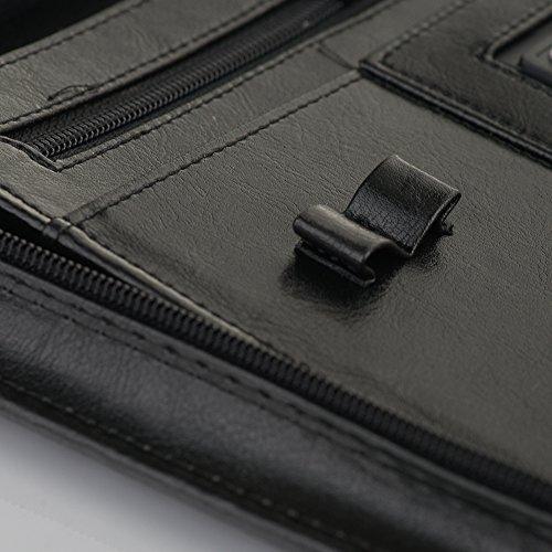 Solier pelle Organizzatore cartelle conferenza portafoglio valigetta ventiquattrore ST02 Nero