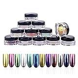 Molie Nagellack-Puder-Set, 12 Farben, Chormeeffekt, Nagelspiegel, Metallic-Nagellack, Pigmente, DIY mit Schwammstift, 2 g/Box