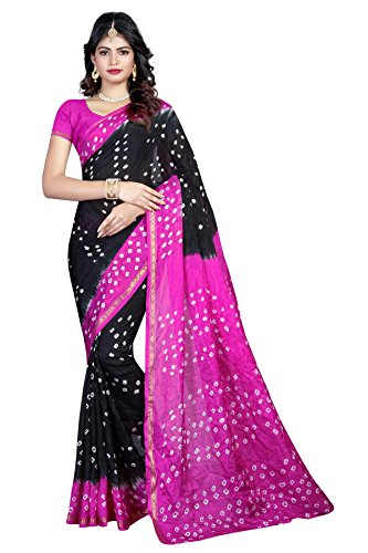 Shree Sondarya Bandhani Black and Pink Tussar Silk Bandhani Saree With Blouse...