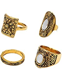 """Young & Forever Valentine Gifts Special """"Boho Gypsy"""" Vintage Style Gold Plated Carved Filigree Midi Finger Ring..."""