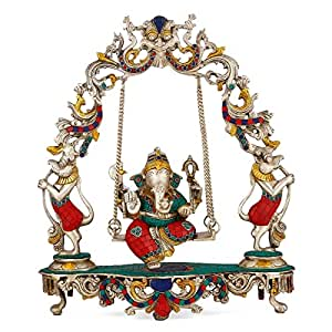 Collectible India Exclusive Jhula Ganesh/Ganesha idol Turquoise Brass Silver Finish Diwali Gifts 18 Inches Large