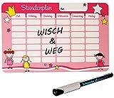 alles-meine.de GmbH Set _ Stundenplan - Wisch & Weg - Incl. Folienstift -  Mädchen - Pink  - BRE..