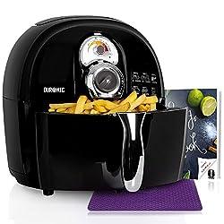 Duronic AF1 /B Heißluftfritteuse/Airfryer/Multifryer/Fritteuse/Heißluft-Fritteuse, 1500 Watt und 2,2L Korb - fettfrei Frittieren, Grillen, Backen + kostenloses Kochbuch mit Rezepten