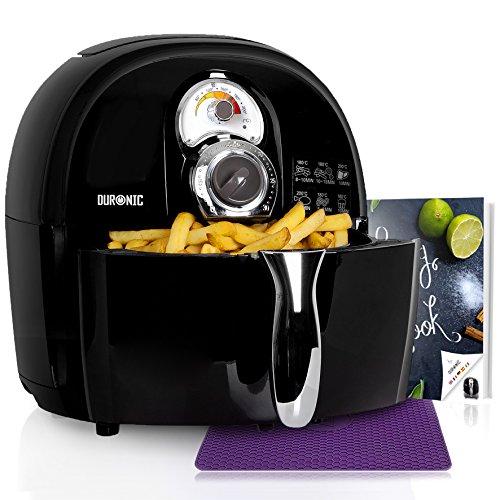 Duronic AF1 /BK friggitrice elettrica ad aria calda senza olio 1500W / robot da cucina multifunzione per friggere, grigliare o arrostire senza grassi con libro di ricette gratuito