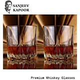 Sanjeev Kapoor Monarch Wiskey Glasss, 320 ml, Transparent, Set of 2