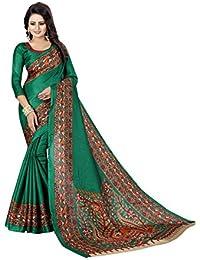 JENCY FASHION Kalamkari 3 Silk Saree With Blouse (GREEN)