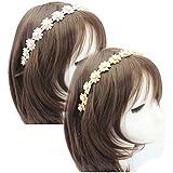 Easy Lifestyles Women Girls Handmade Flower Pearl Hairband Elastic Lovely Sweet Headband Wedding Party Hair Hoop