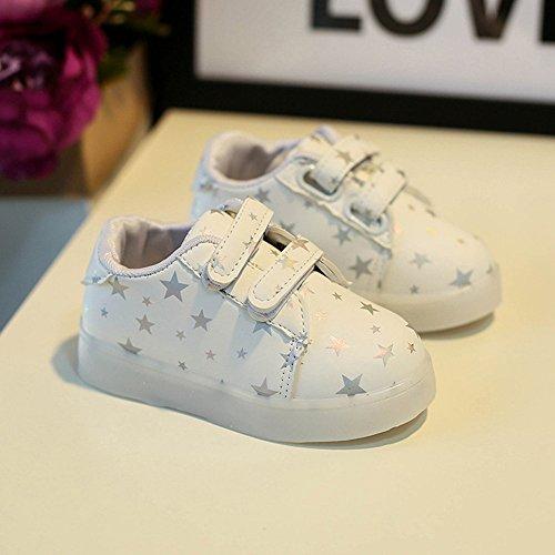 Baby Art und Weise Schuhe LED leuchtendes Kind Kleinkind beiläufige bunte helle Schuhe kingko weiches Handgefühl Sehr gut geeignet für 1 bis 6 Jahre alte Kinder Weiß