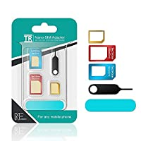TechRise 5-in-1 Nano Micro Standard Sim Card Adapter with Sander Bar and Tray Open Needle - Blue- pack of 2