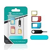 TechRise 5 in 1 Nano Micro Standard SIM Karten Card Adapter Set Kit Converter mit Sander Bar und Fach öffnen Nadel für Smartphones [Neueste Upgraded]