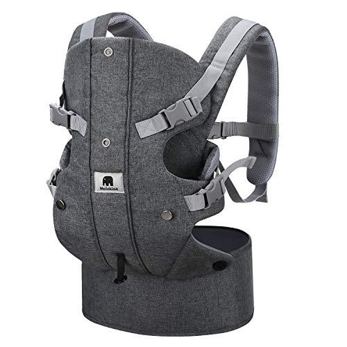 Meinkind Babytrage/Bauchtrage/Rückentrage/Baby Carrier mit Kapuze für 3.5-15kg Kleinkind Kindertrage für 2 Tragepositionen, Grau