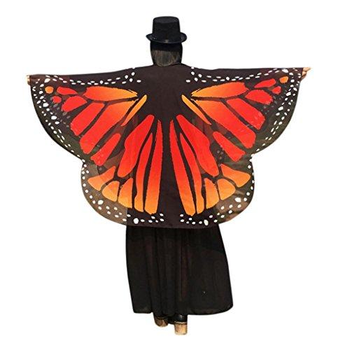 Schmetterling Schals Damen Nymphe Pixie Poncho Halloween Weihnachten Cosplay Kostüm Zubehör für Party (160*140cm,A-Orange) (Einzigartige Günstige Halloween-kostüme)