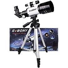 SVBONY Telescopio Astronómico de 70mm Refractivo Terrestre y Astronómico (300mm) con Trípode para Astrónomos y Niños Ideal para los Principantes