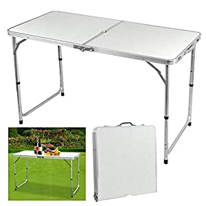 Outdoortips white 4ft folding table height aluminium camping picnic folding lightweight - Camping table adjustable height ...