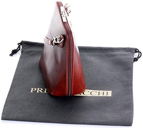 In pelle italiana, Small/Micro croce corpo borsa o borsetta borsa a tracolla.Include una custodia protettiva di marca. Marrone (marrone)