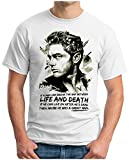 OM3® - James Dean - Life and Death - T-Shirt Hollywood Legends James Byron USA Rockabilly, XL, Weiß