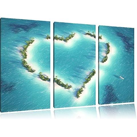 Cuore a forma Isole Bunstift effetto di immagine immagine Canvas 3 PC 120x80 di su tela, XXL enormi immagini completamente Pagina con la barella, stampe d'arte sul murale cornice gänstiger come la pittura o un dipinto ad olio, non un manifesto o un banner,