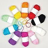 Lana de colores para manualidades de punto, ganchillo y decoración (pack de 10).