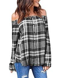 wanshop Women Sexy Off The Shoulder Plaid Tops Long Sleeve T-Shirt Blouse Ladies Casual Loose Blouse