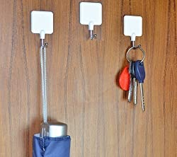 3 Pieces Square Self Adhesive Hooks - Load Capacity 1.5kg