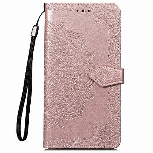 YKTO Hülle für Lenovo A2010 (4.5 Zoll) Handyhülle Leder Flip Case Magnet Kunstleder Geldbörse Standfunktion Schutzhülle 360 Stoßfest Cover Premium Mandala Prägen Einfarbige Rose Gold