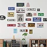Rétro plaque d'immatriculation de voiture Stickers Muraux Salon Bar Pub Café Home Decor Vintage Signes Stickers Muraux Pvc Murale Art Diy Papier Peint
