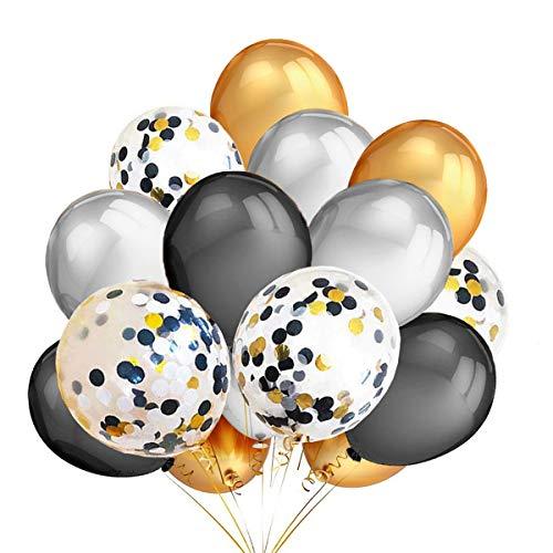 loween Deko Luftballoons Schwarz Gold Silber Konfetti Luftballons Geeignet Für Helium und Luft Halloween Party Dekoration ()