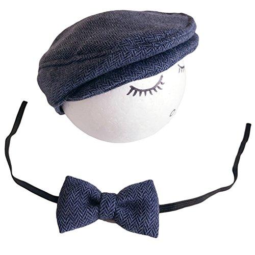 7b9bf8208883 Vemonllas Casquette Cravate pour Bébé Garcon Fille Baseball Bonnet Beret  Chapeau Ensemble Photo Bébé Accessories Prop