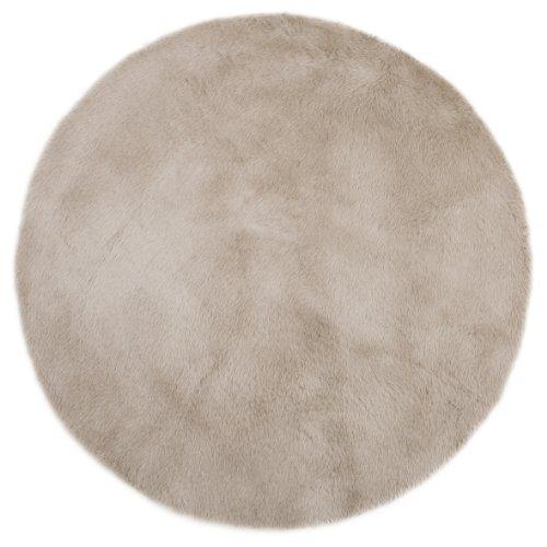 Tapis enfant pilepoil - Rond gris taupe D 140 cm - fausse fourrure - Fabrication Française