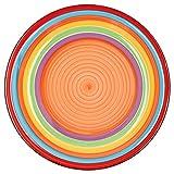 MamboCat 6-TLG Speisetellerset Ibiza rund kunterbunte Essteller Men/ü-Teller flach Servier-Geschirr Buffet-Platte Porzellan-Geschirr Regenbogenfarben Rainbow