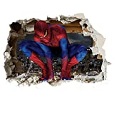 3D Spiderman Wand-Zertrümmern Kinder Wandaufkleber Wandüber Wall Art Wand Tattoo Customise4U™ (3d spiderman smash 70cm)
