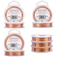 BENECREAT 3PCS Mixed Size Tarnish Resistant Copper Wire (0.6mmx20m & 0.8mmx10m & 1.0mmx10m), 3 Size/Set