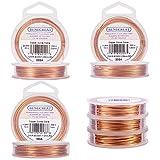 BENECREAT 3PCS Fil de cuivre Resistant aux ternissures de Taille Mixte (0,6 mm x 20 m et 0,8 mm x 10 m et 1,0 mm x 10 m), 3 Tailles/Ensemble