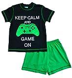 "ThePyjamafactory, pigiama corto per bambini con scritta ""Keep Calm and Game on"", si illumina al buio Black 9-10 Anni"