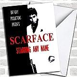 Spoof Scarface Al Pacino Film Poster Grappige verjaardagskaart met envelop, kan volledig worden gepersonaliseerd, snel en gratis verzonden