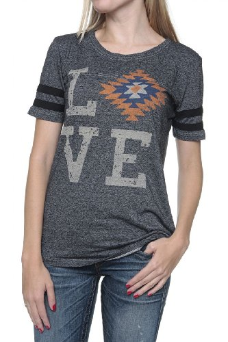 True Religion Damen Shirt Motiv T-Shirt Serape Love Crew Neck 1035 Schwarz