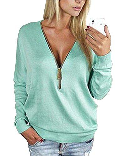 Donna Pullover Felpe V Collo Zipper Maglioni Camicetta Tops Sciolto Sweatshirt Outwear Blu