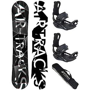 Airtracks Snowboard Set – REFRACTIONS Game Snowboard Wide + Snowboardbindung Master FASTEC + Snowboard Bag / 155 159 161 165 171 cm